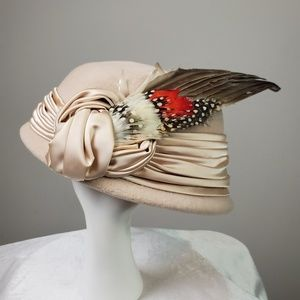 Vintage Mr. D Blush Pink Wool Bow Feather Hat
